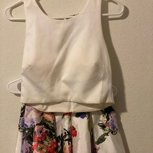 High/low, two piece floral prom dress.